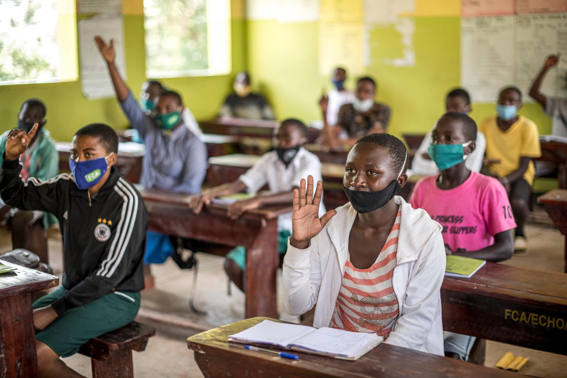 A classroom of children in Uganda.